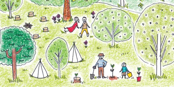 森で植樹するイラスト