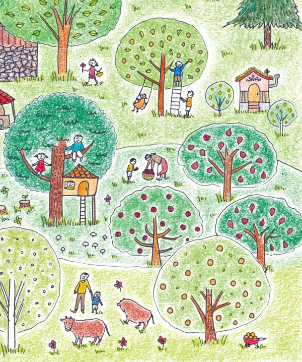 森と子どものイラスト